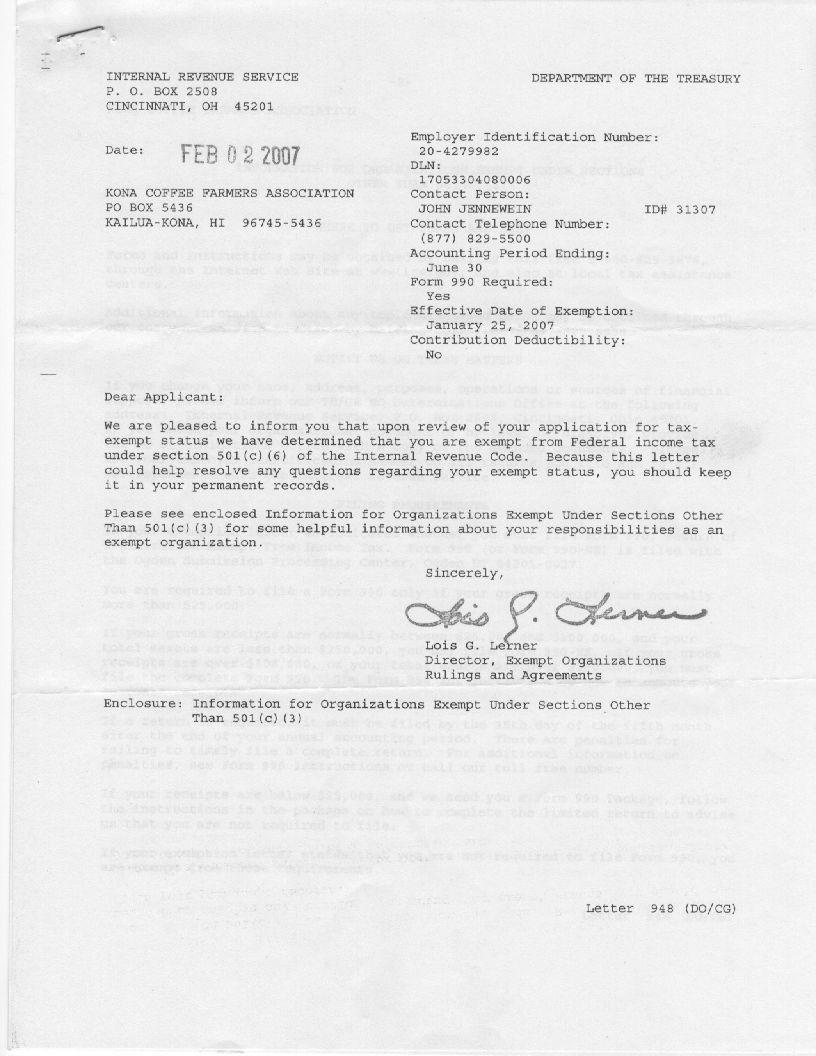 KCFA IRS Non Profit letter